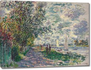 Моне Клод. Берега реки в Пети-Женвилье, 1875