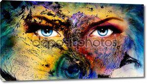 Планета Земля и синий человеческий глаз с фиолетовый и розовый день макияж. женщина глаз картина