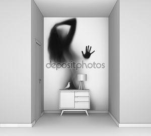 Сексуальная и красивая женщина, длинные волосы, руки, силуэт