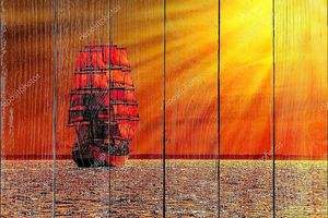 Sailing ship on the sea