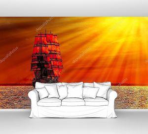 Бригантина в красном закате