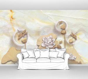 Мраморный фон, стрекозы на лотосах