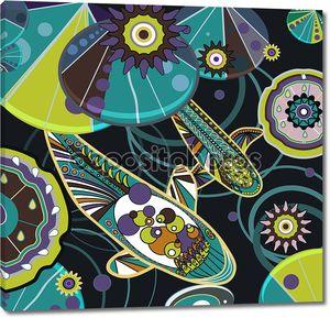 Абстрактный рисунок с рыбами