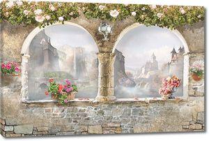 Веранда с двумя окнами и цветами