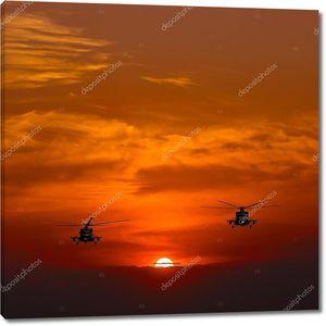 Вертолеты Ми-8, теплый закат