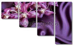 Шелк и орхидеи. С copyspace