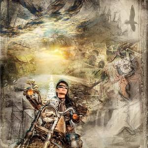 Абстрактный рисунок с девушкой на мотоцикле