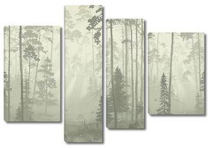 Семья медведей в туманном лесу