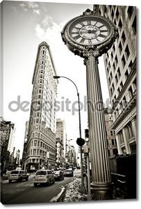 Широкий угол зрения Flatiron здание в Нью-Йорке