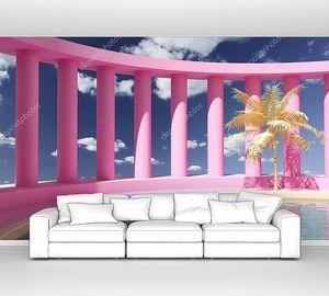Бассейн в холле с колоннами, концептуальное искусство в ярких цветах, 3D иллюстрация, рендеринг .