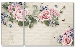 Кирпичная стена с розами