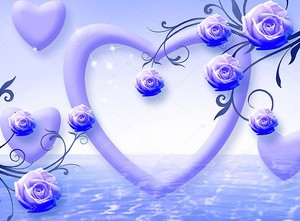 Синий фон с сердцем и розами