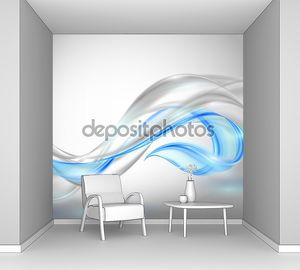 Абстрактные Грей, размахивая фон с голубой элемент
