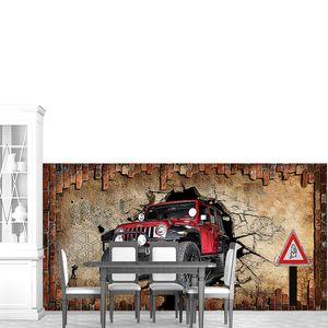 Джип в стене с бетоном и кирпичем