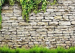 свежий весенний, зеленые листья растений на фоне кирпичной стены