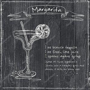 Маргарита. Рисованной иллюстрации коктейль.