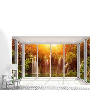 Осенний водопад за стеклом