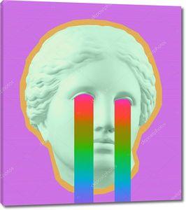 Плакат современного концептуального искусства с зеленым фиолетовым красочным бюстом Венеры. Коллаж современного искусства .