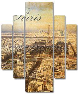 Птичьего полета города Париж, Франция, в старинном стиле выглядеть