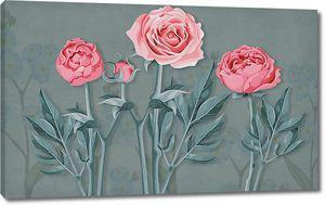 Три розы на темном фоне