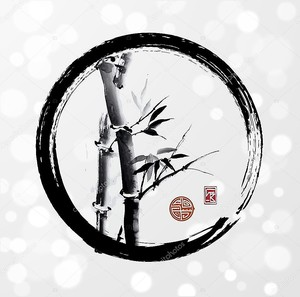 Бамбук дерево в круге ЭНСО