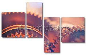 Зубчатые колеса крупным планом