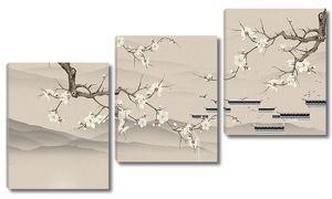Ветки сакуры с контурами китайской стены