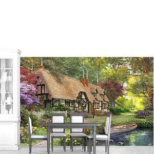 Домик с соломенной крышей у пруда
