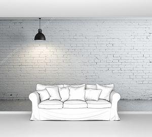 Кирпичная комната с потолочным светильником
