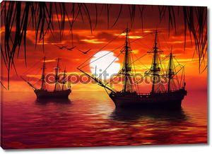 Два корабля на фоне заката
