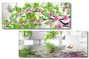 Серые прямоугольники, дерево с розовыми розами, отражение в воде