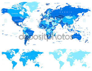 Blue World Map - borders, countries and cities - illustration