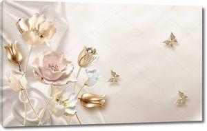 Розы, три  бабочки