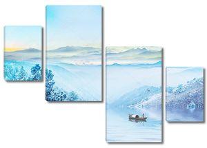 Озеро, туман, рыбак на лодке