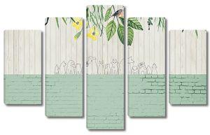 Забор с растениями по верху