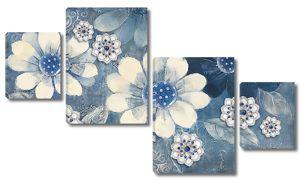 Цветы разбросанные по синему фону