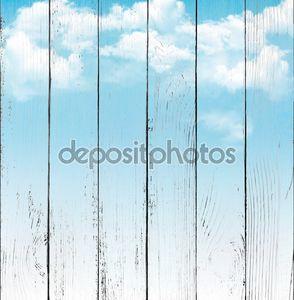 Голубое небо с облаками. Векторный фон