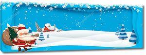 Санта-Клаус с мешком и елки