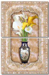 Белые и желтые каллы в вазе в рамке