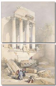 Разрушенный город туманным утром