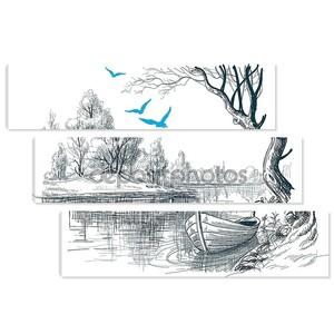 Лодка на эскиз Векторный Дельта реки