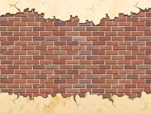 Кирпичная стена и трещины бетона