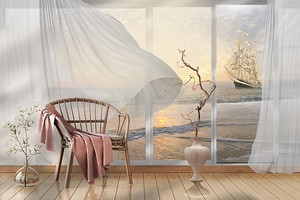 Вид на залив и парусник через окно