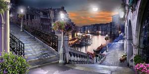 Улица с фонарями в ночное время