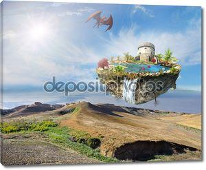 Остров дракона, пролетел над горный ландшафт