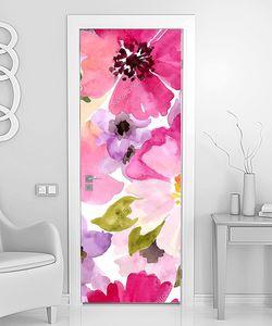 Розовые акварельные цветы