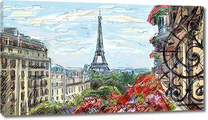 Рисунок прекрасного Парижа с балкона