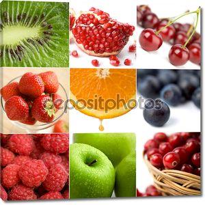 Красочные плоды коллаж из девяти фотографии