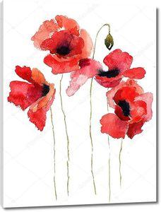 стилизованные цветы мака Иллюстрация