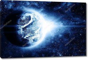 Свечение красной планеты в космосе
